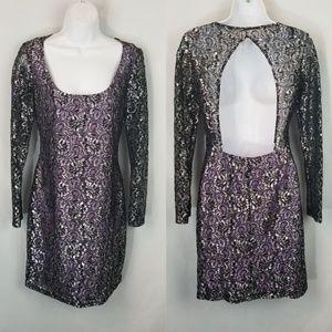 Jump Appearel Sparkly Lace Dress Back Cutout
